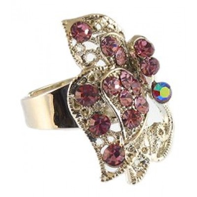 Austrian Crystal Flower Ring - Purple Color -RN-R6001PL