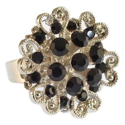 Austrian Crystal Flower Ring  - Black Color - RN-R6002BK