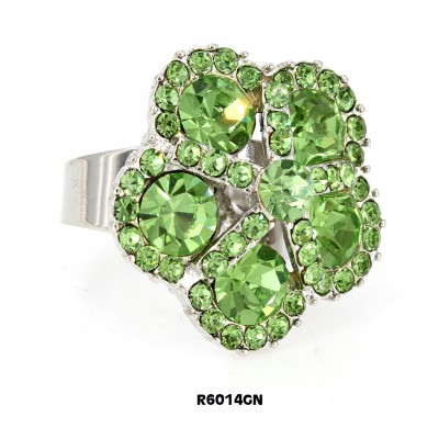 Austrian Crystal Flower Ring  - Green Color - RN-R6014GN
