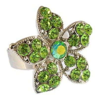 Austrian Crystal Flower Ring  - Green Color - RN-R6016GN