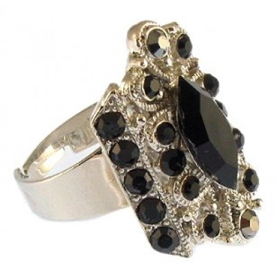 Austrian Crystal Flower Ring  - Black Color - RN-R6029BK