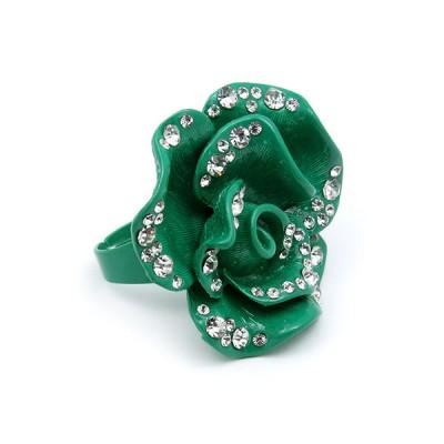 Finger Rings, Adustable, Flower w/Rhinestones - Green Color - RN-R965BLZ