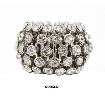 Finger Rings w/ Rhinestones, Strtchable, Clear Color - RN-R993CR