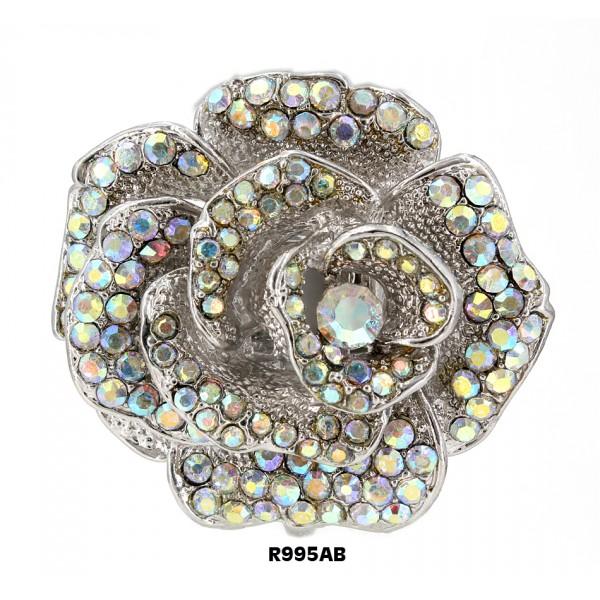 Finger Rings , Rose Charm w/ Rhinesones , Stretchable, AB Color - RN-R995AB