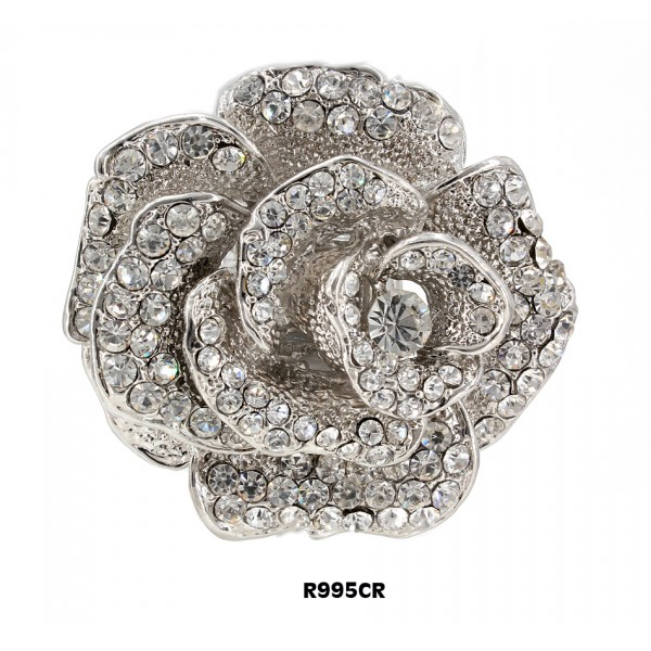 Finger Rings , Rose Charm w/ Rhinesones , Stretchable, Clear Color - RN-R995CR