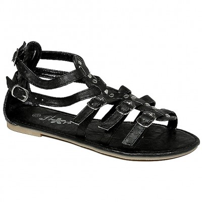 Sandals - 6-pair Leather Like Strapped Upper w/ Buckles - Black - SL-C1025BK