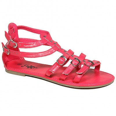 Sandals - 6-pair Leather Like Strapped Upper w/ Buckles - Hot Pink - SL-C1025HPK