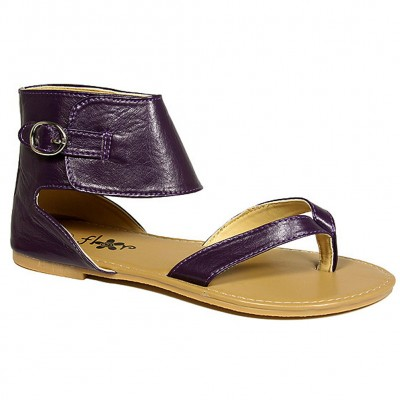 Sandals - 6-pair Leather Like Ankle Cuff w/ Buckle - Purple - SL-C1032PL