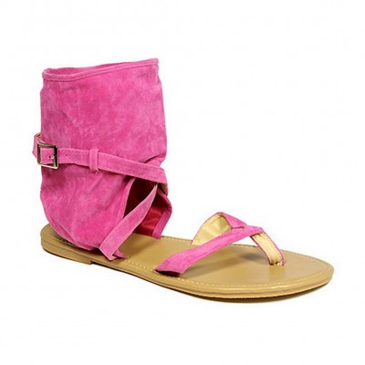 Sandals - 6-pair Suede Like Bootie Silhouette w/ Crisscross Straps - Pink - SL-C1033PK