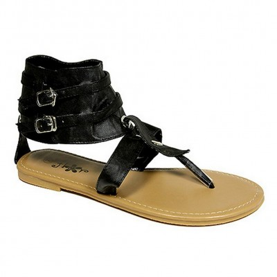 Sandals - 6-pair Leather Like Ankle Cuff w/ Dual Buckled Straps - Black - SL-C1035BK