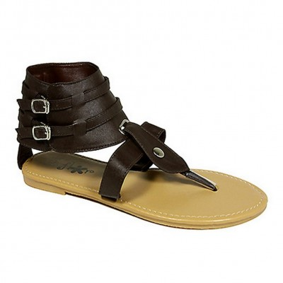 Sandals - 6-pair Leather Like Ankle Cuff w/ Dual Buckled Straps - Brown - SL-C1035BN