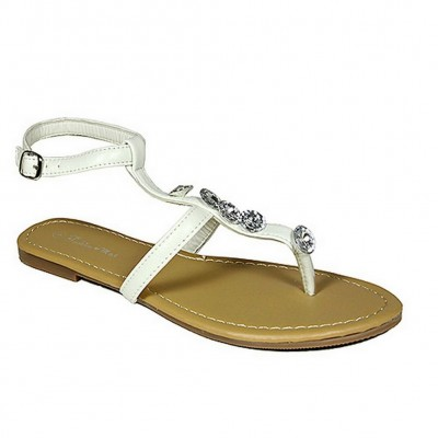 Sandals - 6-pair Leather Like w/ Clear Beads - White - SL-LDL201009WT