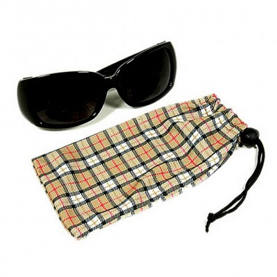 Sunglasses Pouches - Plaid Print- Brown -Pack / 12 pcs - GL-CAS7-10