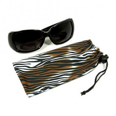 Sunglasses Pouches - Tiger Stripes Print- Brown - Pack / 12 pcs - GL-CAS7-8