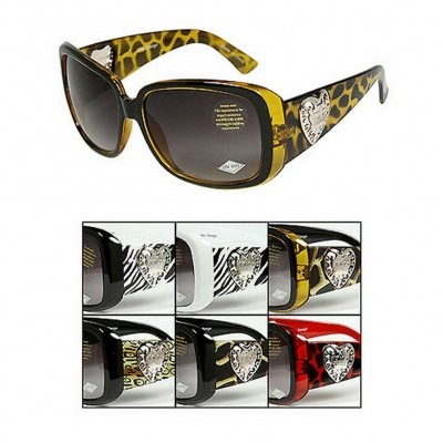 Sunglasses - JCT Group - Heart & Crown Charm/ Animal Print - Asst. Color - GL-IN2626R