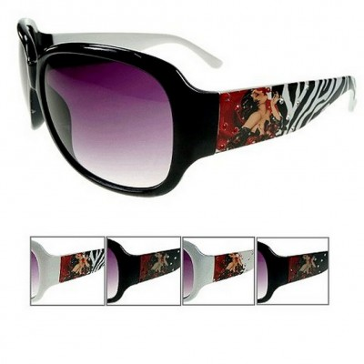 Sunglasses - HDY Group - Tattoo Print - Lady w/Rhinestones - Asst. Color - GL-IN2639