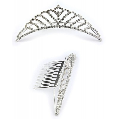 Tiara w/ Side Comb - Clear Crystal Stones - CB-6871