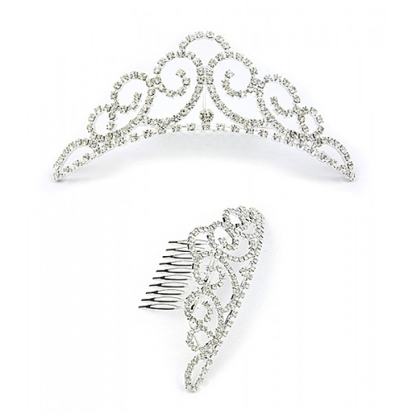 Tiara w/ Side Comb - Clear Crystal Stones - CB-T3248