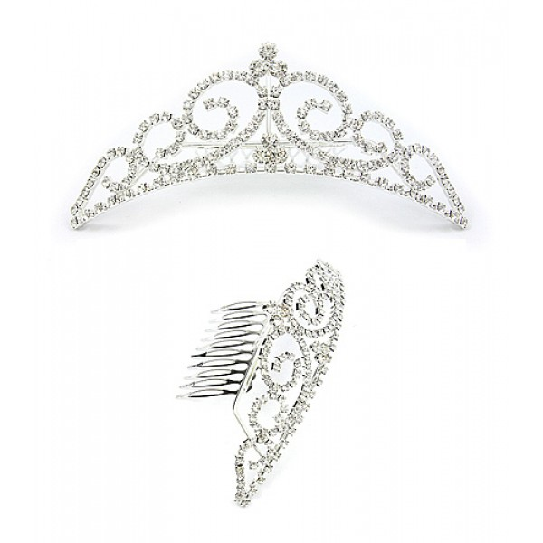 Tiara w/ Side Comb - Clear Crystal Stones - CB-T3256