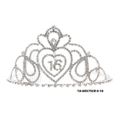 Tiara w/ Side Comb - 16th Birth Day Clear Crystal Stones