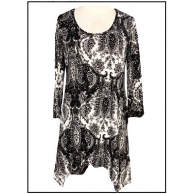 Tunics Tops with 3/4 Sleeves, Paisley Print – Black & White - ATP-TT8701
