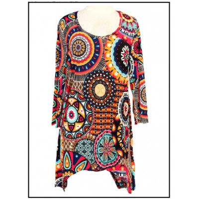 Tunics Tops with 3/4 Sleeves, Art Print - ATP-TT8702