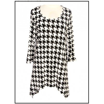 Tunics Tops with 3/4 Sleeves, Houndstooth Print – Black & White- ATP-TT8704