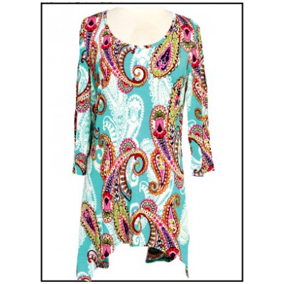 Tunics Tops with 3/4 Sleeves, Paisley Print – Turquoise & Pink color - ATP-TT8705
