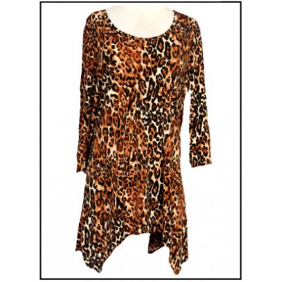 Tunics Tops with 3/4 Sleeves, Leopard Print - Brown - ATP-TT8706