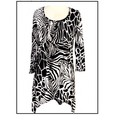 Tunics Tops with 3/4 Sleeves, Zebra/Giraffe Print – Black & White - ATP-TT8707