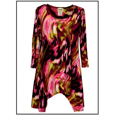 Tunics Tops with 3/4 Sleeves, Art Print – Pink & Brown - ATP-TT8709
