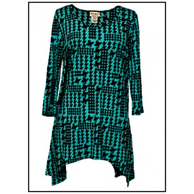 Tunics Tops with 3/4 Sleeves, Houndstooth - Aqua - ATP-TT8710