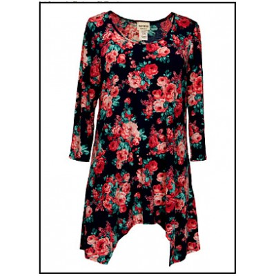 Tunics Tops with 3/4 Sleeves, Roses – Navy Blue - ATP-TT8711