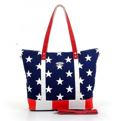 USA Flag Print Canvas Tote - BG-US001BL