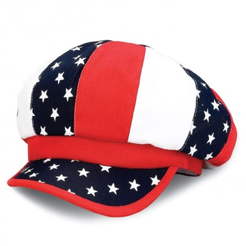 Newsboy Caps - Brushed Canvas USA Flag Print - HT-2119