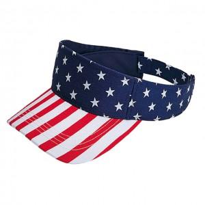 Visor Caps: USA Flag Print Cotton Twill - HT-4024