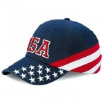 Baseball Caps - Cotton Twill Washed USA Flag Cap - HT-7642C