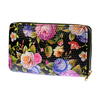 Wallets - Floral Print Zip Around Wallets - Black - WL-1078FA-BK