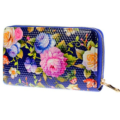 Wallets - Floral Print Zip Around Wallets - Blue - WL-1078FA-BL