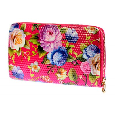Wallets - Floral Print Zip Around Wallets - Fuchsia - WL-1078FA-FU
