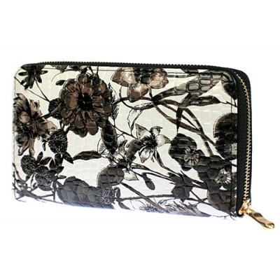 Wallets - Floral Print Zip Around Wallets - Black - WL-1078GF-BK