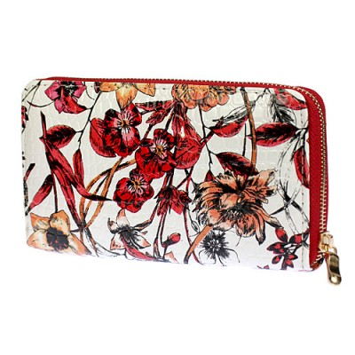 Wallets - Floral Print Zip Around Wallets - Red - WL-1078GF-RD