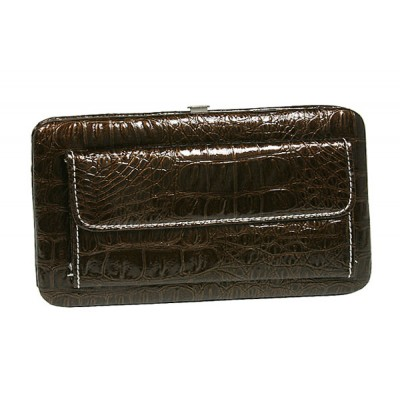 Flat Wallet - Leather Like w/ Croc Embossed - Brown - WL-AL121LPBN