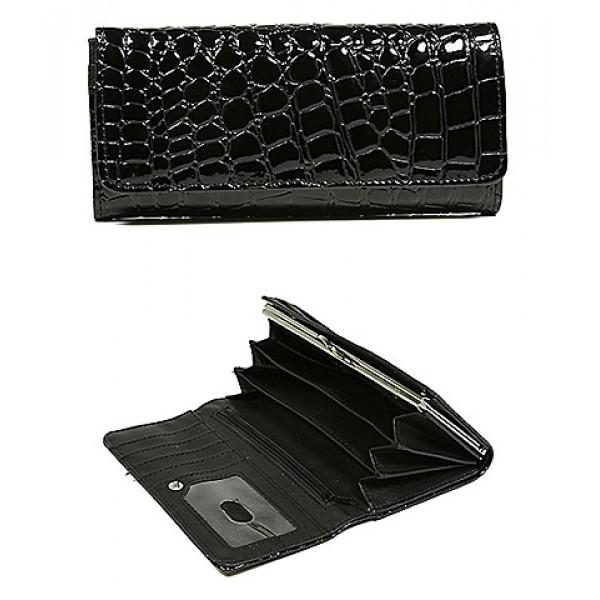 Wallet - Shinny Croc Embossed w/ Twisted Closure Pocket - Black - WL-AL240BK