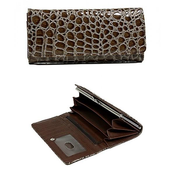 Wallet - Shinny Croc Embossed w/ Twisted Closure Pocket - Mocha - WL-AL240MOC