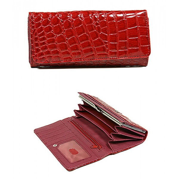 Wallet - Shinny Croc Embossed w/ Twisted Closure Pocket - Red - WL-AL240RD