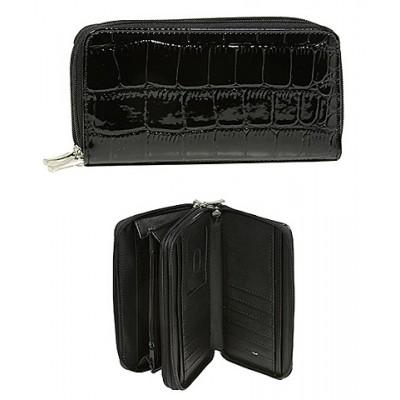 Wallet - Croc Embossed Organizer - Black -WL-AL3098BK