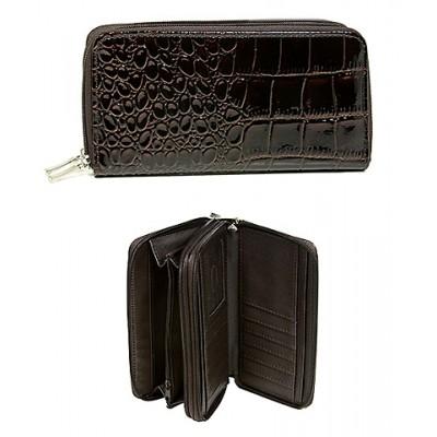 Wallet - Croc Embossed Organizer - Black -WL-AL3098BN