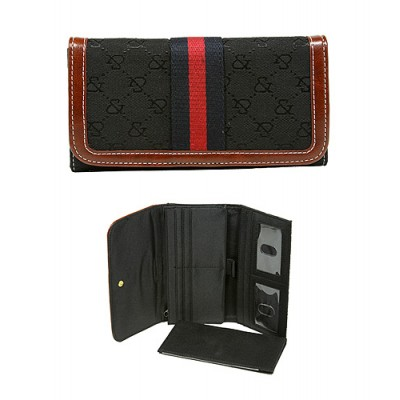 Wallet - Jacquard Monogram Check Book Wallet - Black  -WL-AND008BK