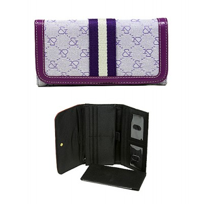 Wallet - Jacquard Monogram Check Book Wallet - Purple  -WL-AND008BPU